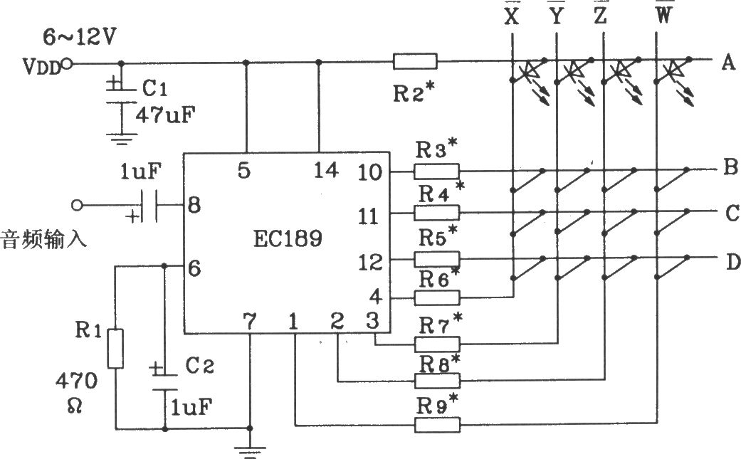 Typical application circuit of audio color lamp control