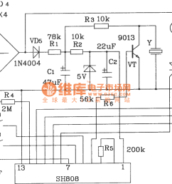 color lamp control circuit composed of sh808 multifunction music lampcontrol ledandlightcircuit circuit diagram seekiccom [ 1446 x 851 Pixel ]