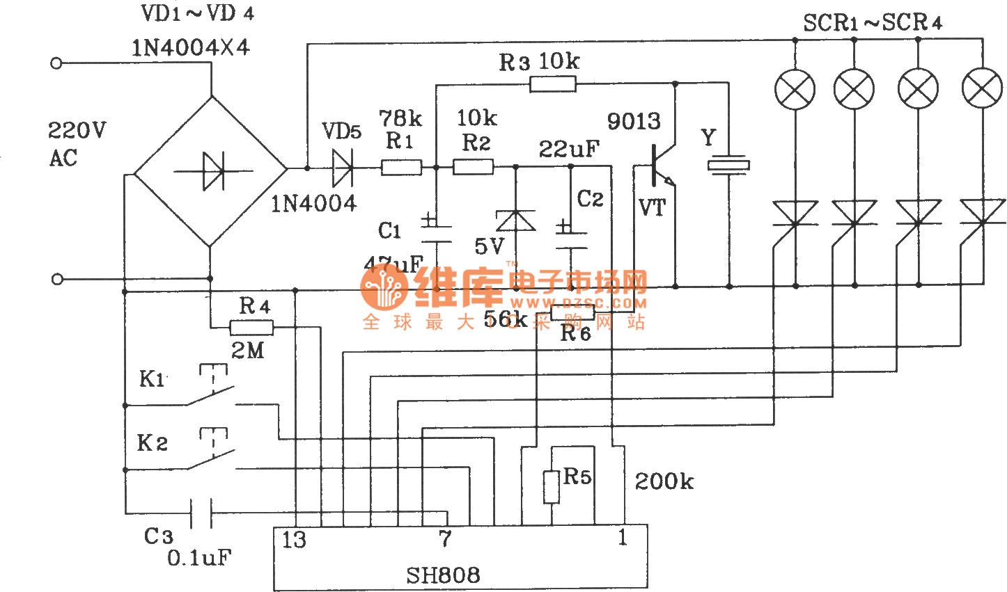 hight resolution of color lamp control circuit composed of sh808 multifunction music lampcontrol ledandlightcircuit circuit diagram seekiccom