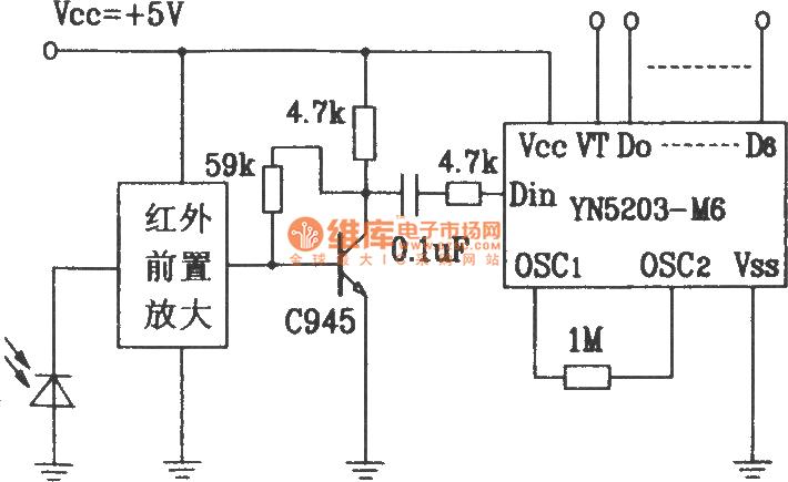 Composed of YN5103IR/YN5203 encoder decoder matching