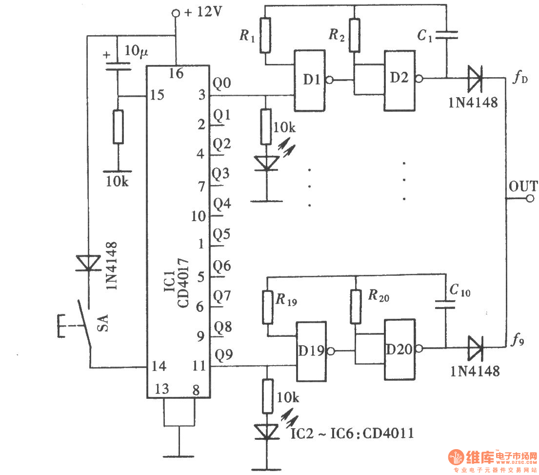 Ten blocks frequency signal generator(CD4011、CD4017