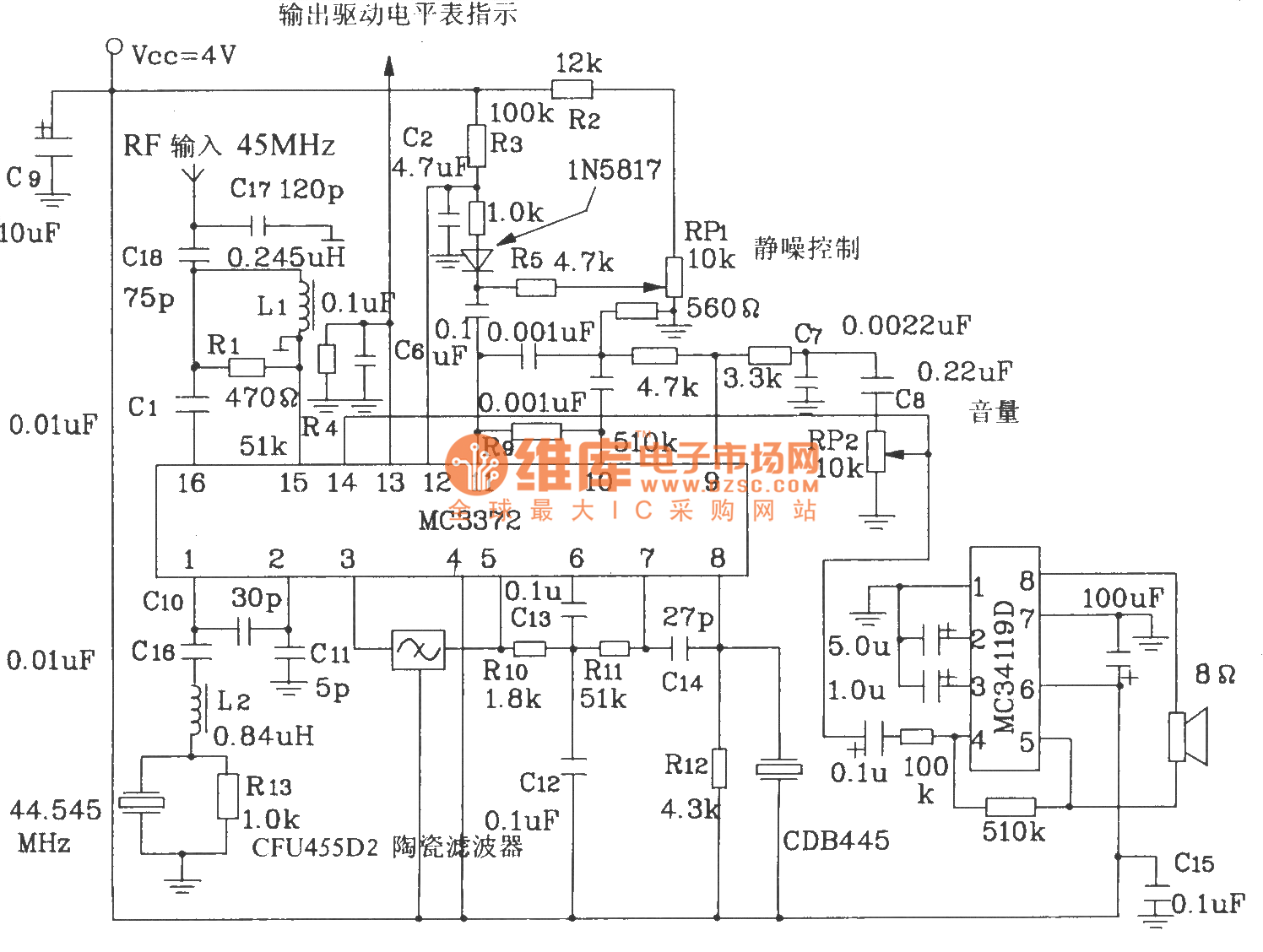 hight resolution of composed of mc3372 and mc341196d 45mhz band radio receiver circuit diagram