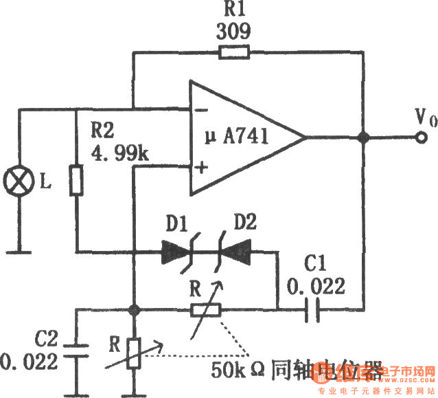 Audio oscillator with adjustable frequency composed of
