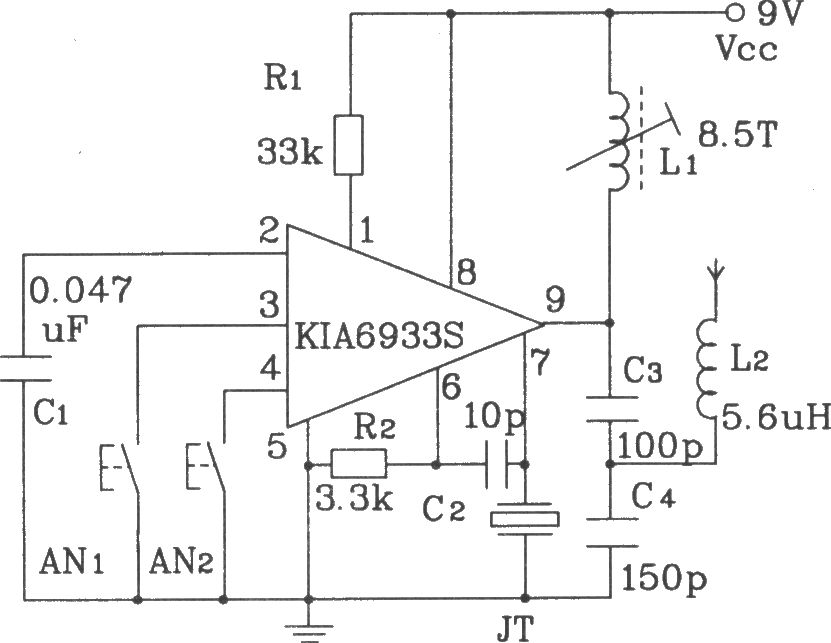 Four-action RF remote transmitter and receiver circuit