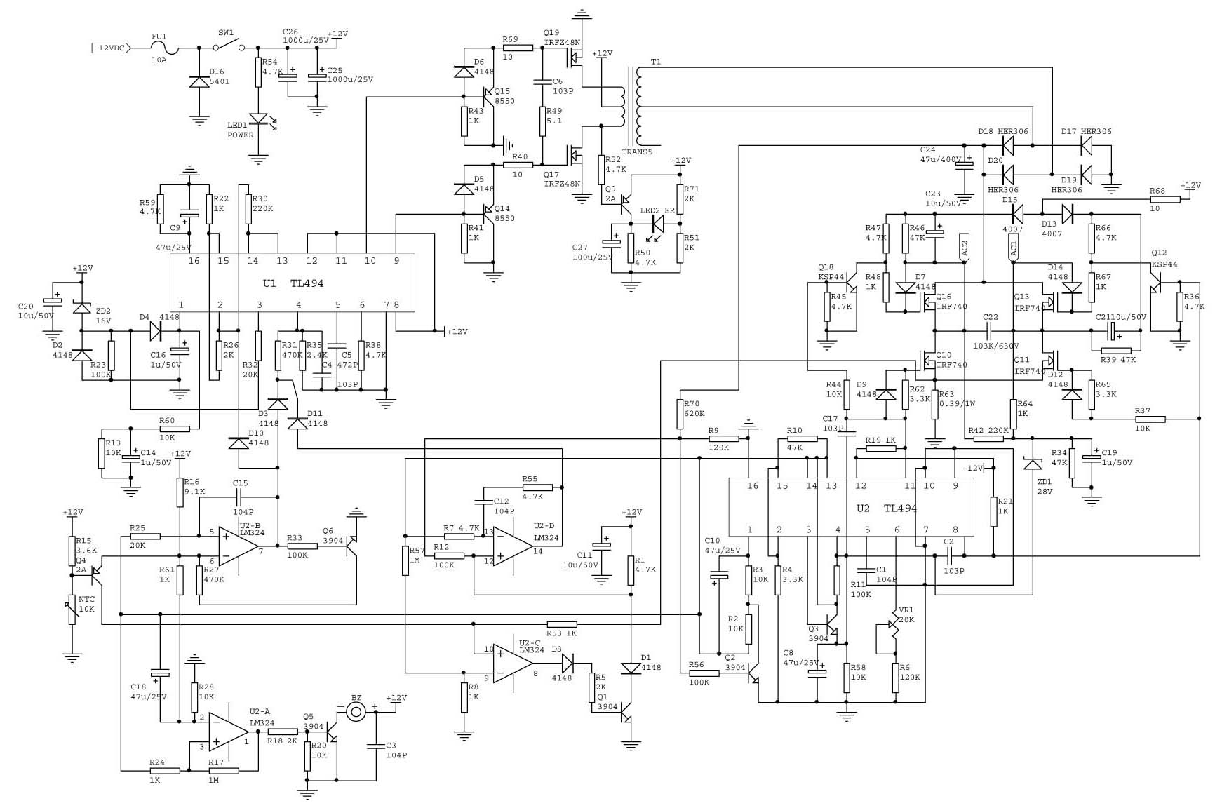 Common inverter principle diagram on the market(12VDC to