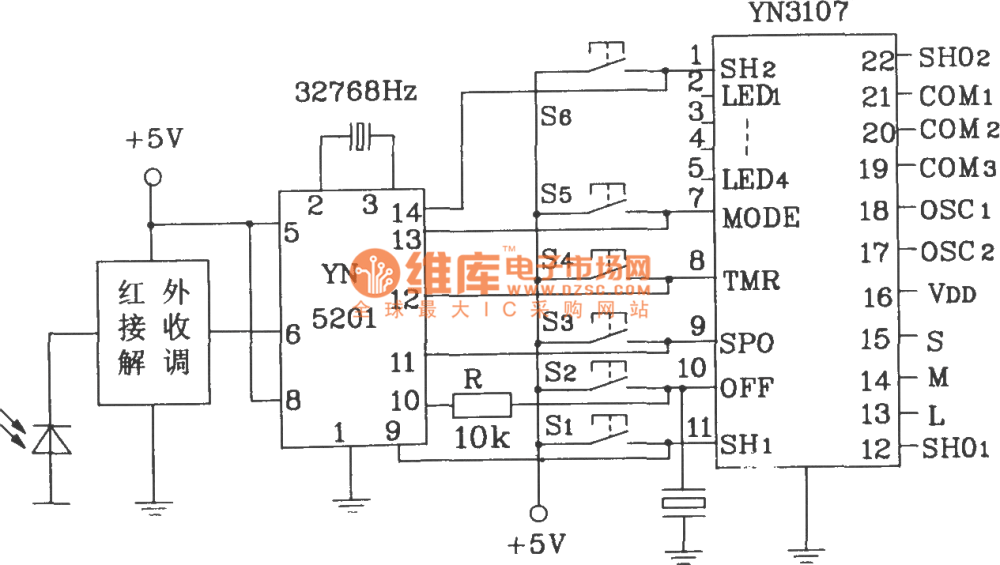 medium resolution of yn5101 5201 multi channel infrared remote control encoder and decoder typical application circuit diagram