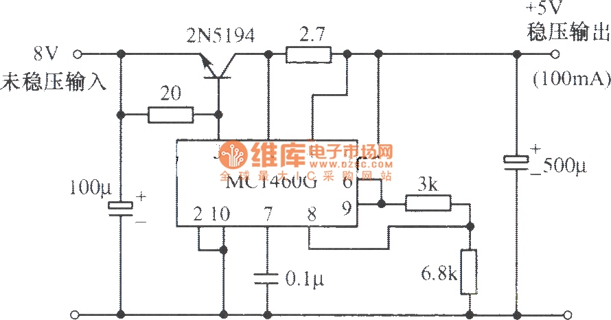 5V regulated power supply composed of MC1460G integrated