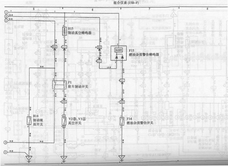 Toyota Coaster bus combination instrument circuit diagram