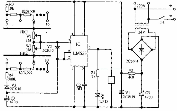 Electrical apparatus start-stop circulatory timer circuit