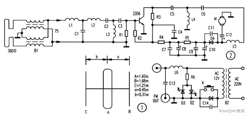 FM broadcast special-purpose electric wire circuit diagram