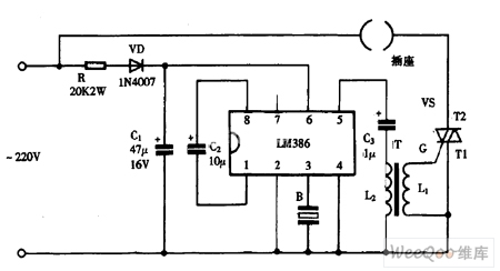 Using LM386 as music colored controller circuit diagram