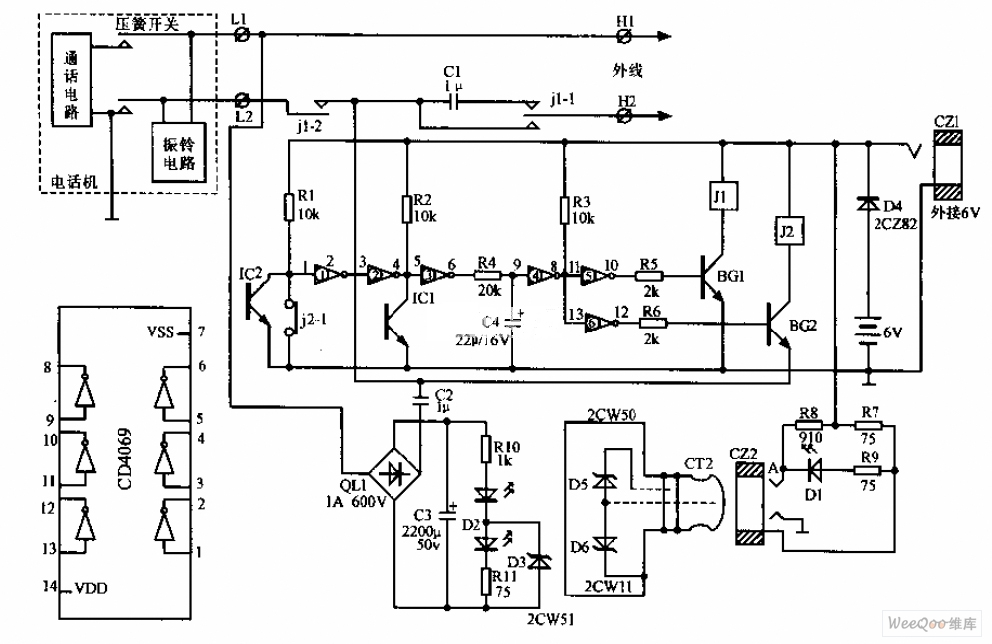 Preventing outside lines telephone circuit diagram