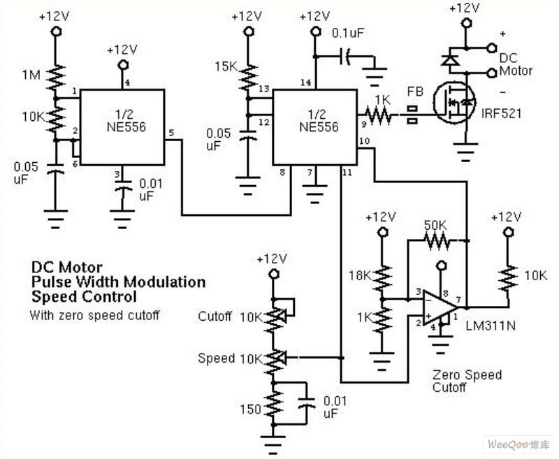 Pulse width modulation (PWM) DC motor speed controller