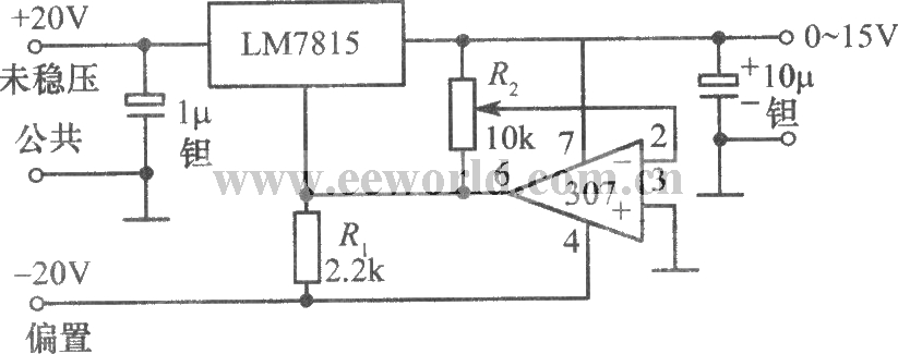 0~15V adjustable regulated power supply composed of LM7815