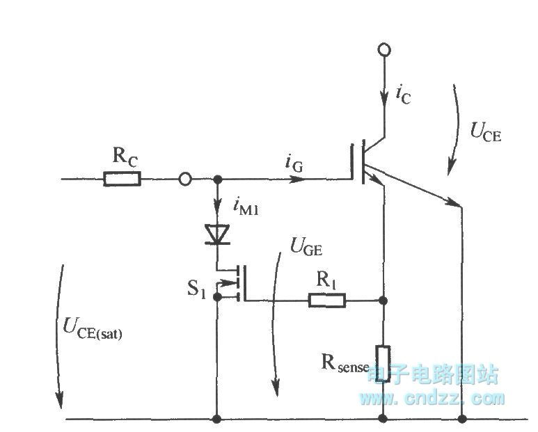 Limiting short circuit current by reducing IGBT grid