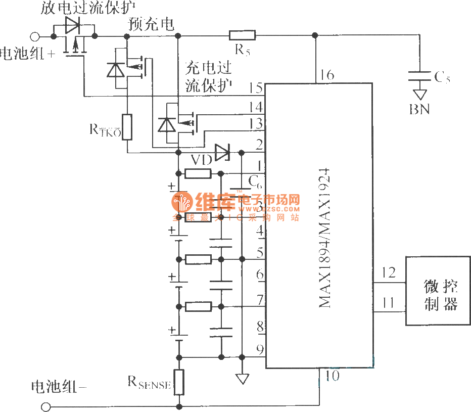 Typical application circuit composed of MAX1894/MAX1924