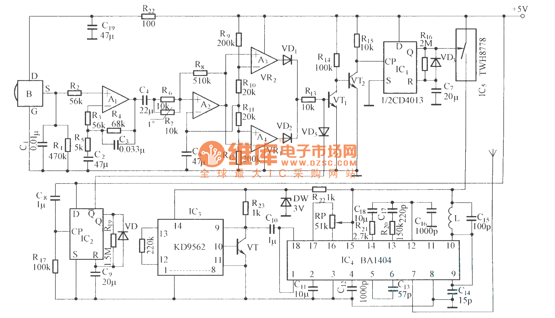 Pyroelectric infared detection wireless alarm circuit
