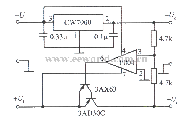 Tracing integrated regulated power supply with positive