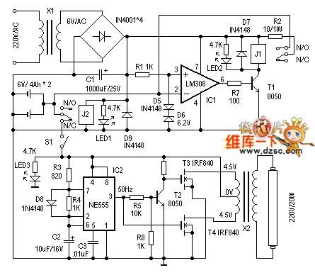The circuit diagram of emergency lamp circuit board