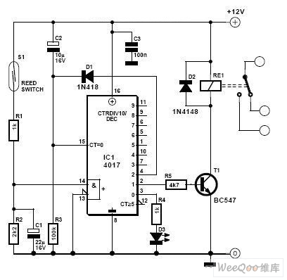 Magnetic reed, dryreed proximity switch sensor circuit