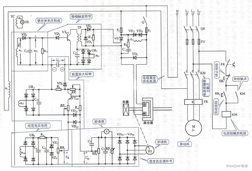 Electromagnetic speed governing control circuit diagram