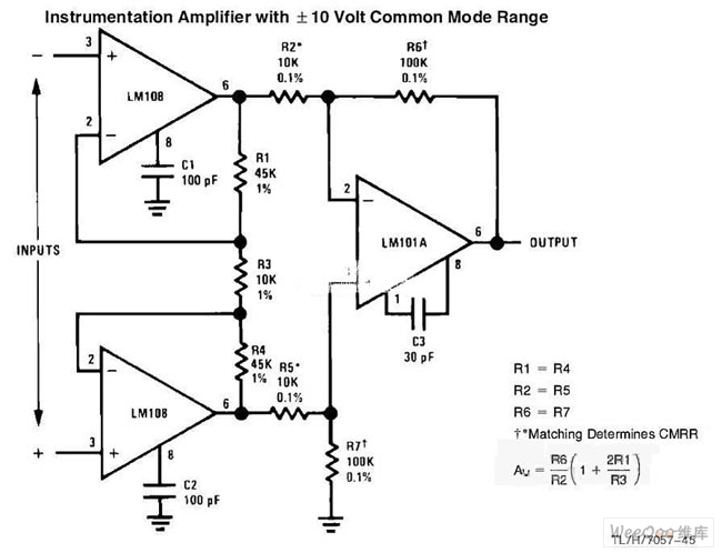 The Instrumentation Amplifier Circuit with Common Mode