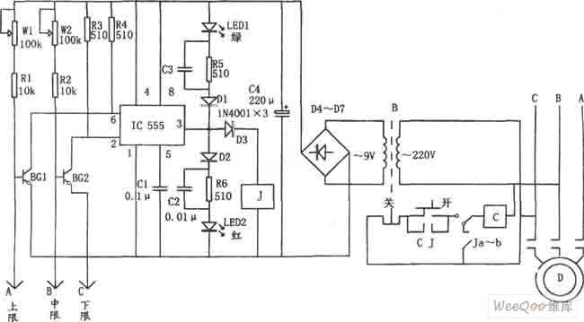 water level automatic control circuit consisting of 555 automatic