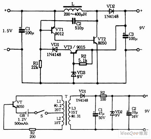 Three 1.2V-1.5V input and 9V output booster circuits