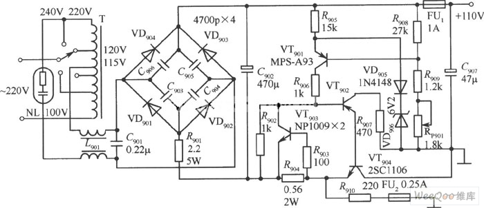 110V Regulated Power Supply Circuit with Stable