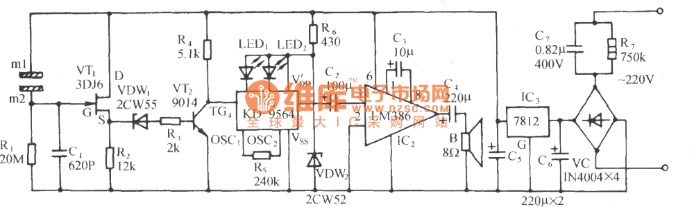 medium resolution of the fire alarm circuit with the metal plate as the fog sensor