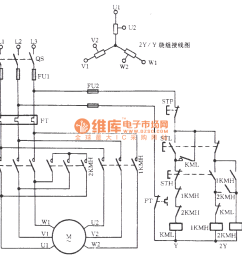three phase motor double speed 2y y connection speed regulation circuit [ 1261 x 1049 Pixel ]