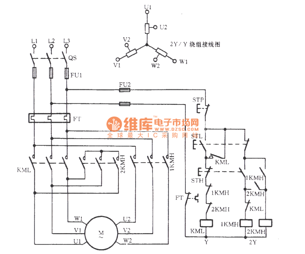 medium resolution of three phase motor double speed 2y y connection speed regulation circuit