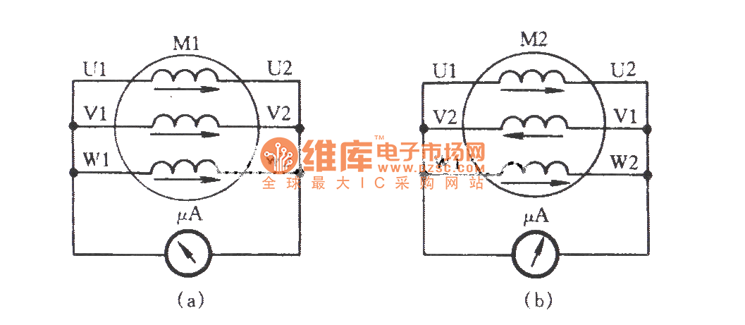 Three-phase motor winding reverse connection check circuit