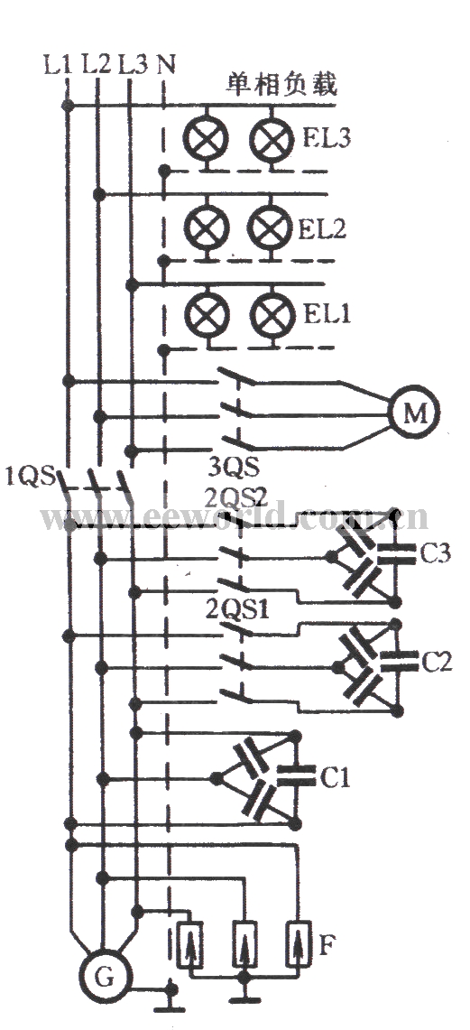 Three-phase motor used for asynchronous generator load