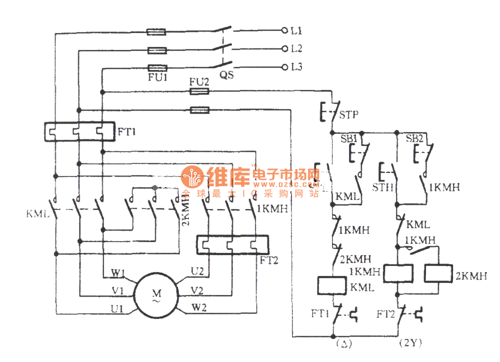 medium resolution of three phase motor dual speed 2y connection speed control circuit c