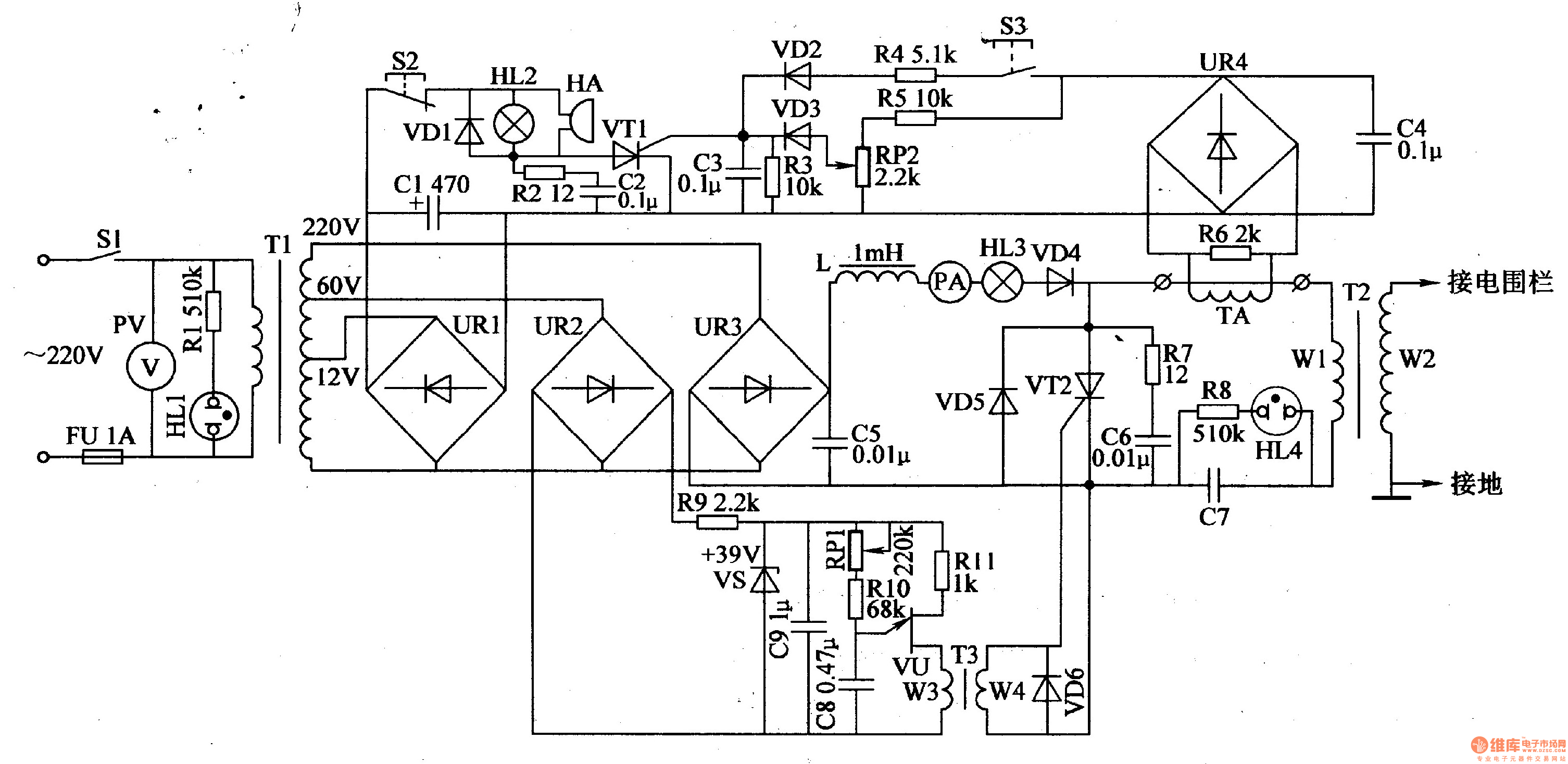 Electric Fence Circuit Diagram