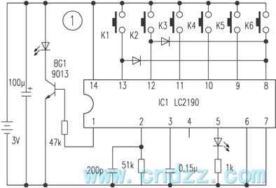 6-way infrared remoter controller circuit without no