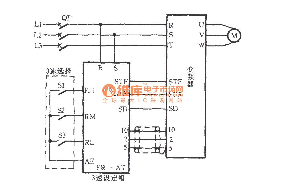 The frequency converter speed circuit with a triple speeds
