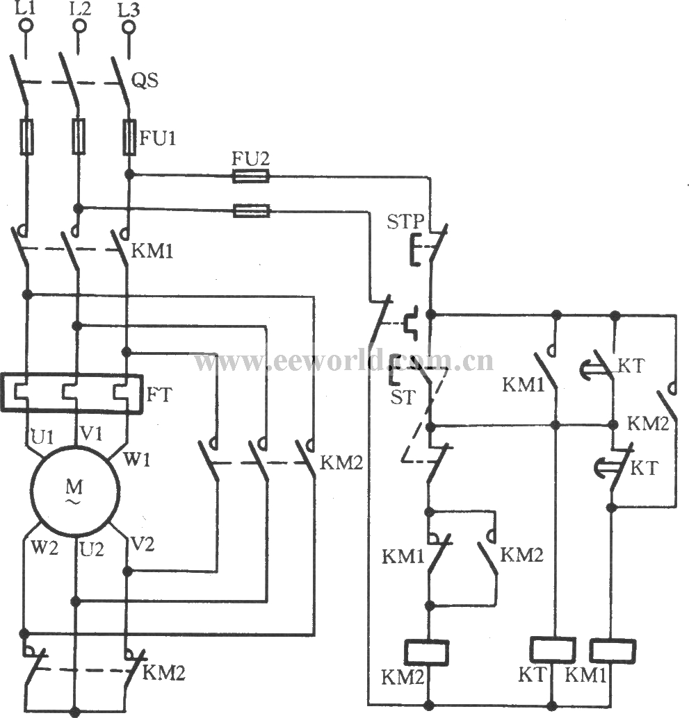 two contactors for composing Y- step-down start-up circuit