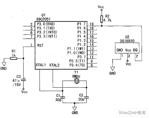 DS18B20 and 51 Single Chip AT89C2051 Interface Circuit