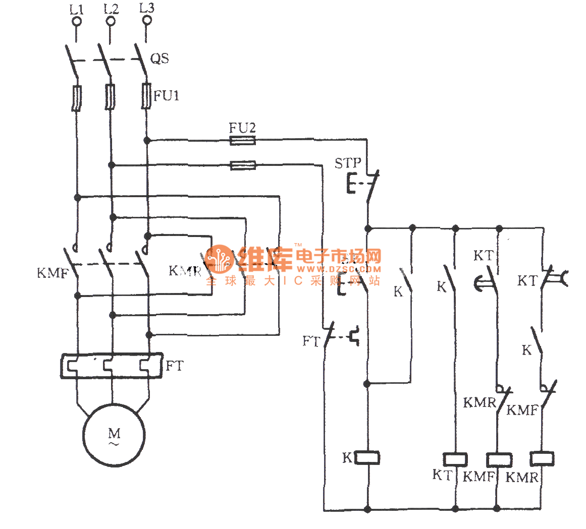 Three-phase motor transistor automatic limiting reversing