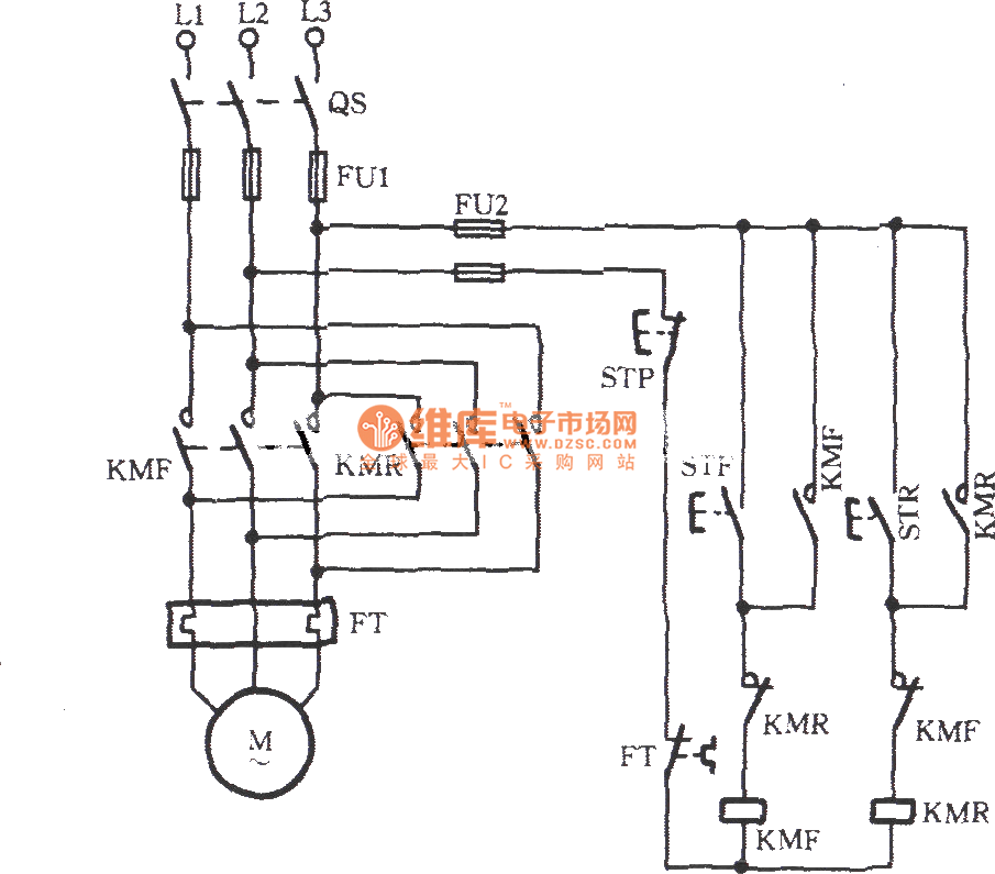 Three-phase motor contactor auxiliary contact interlock