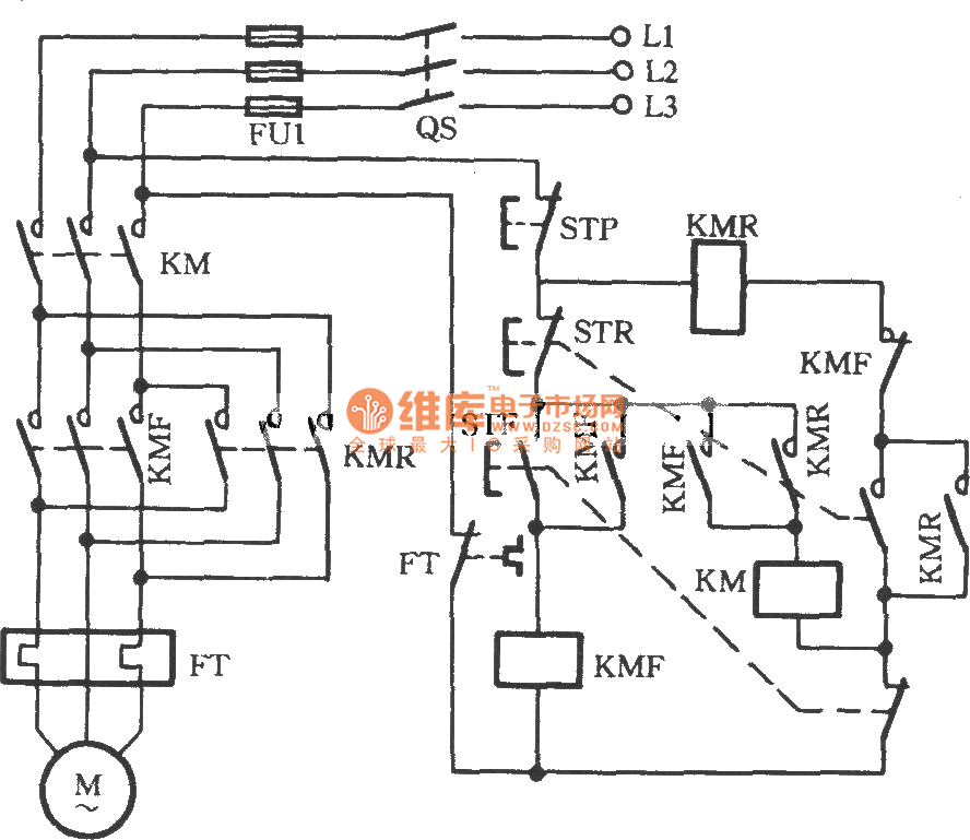 Three-phase motor using three-contactor for inverting