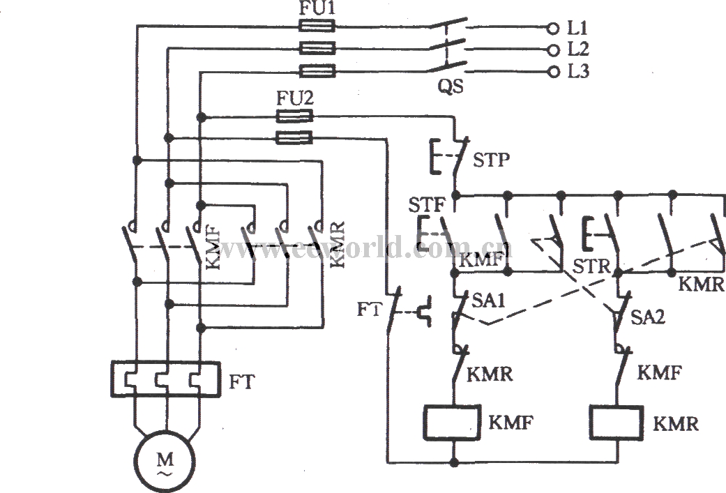 Three-phase motor using the limit switch for inverting