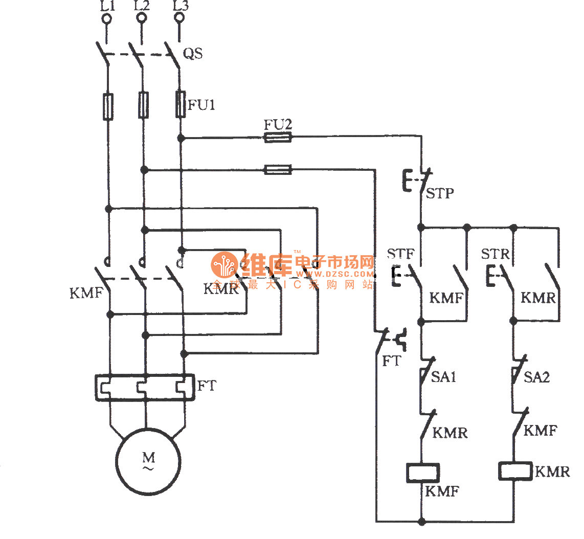 Three-phase motor using limit switch for automatically