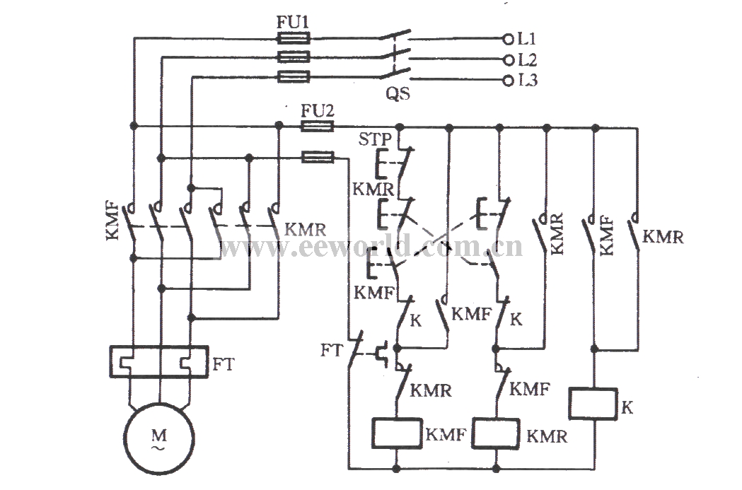 Three-phase motor with a relay for inverting circuit