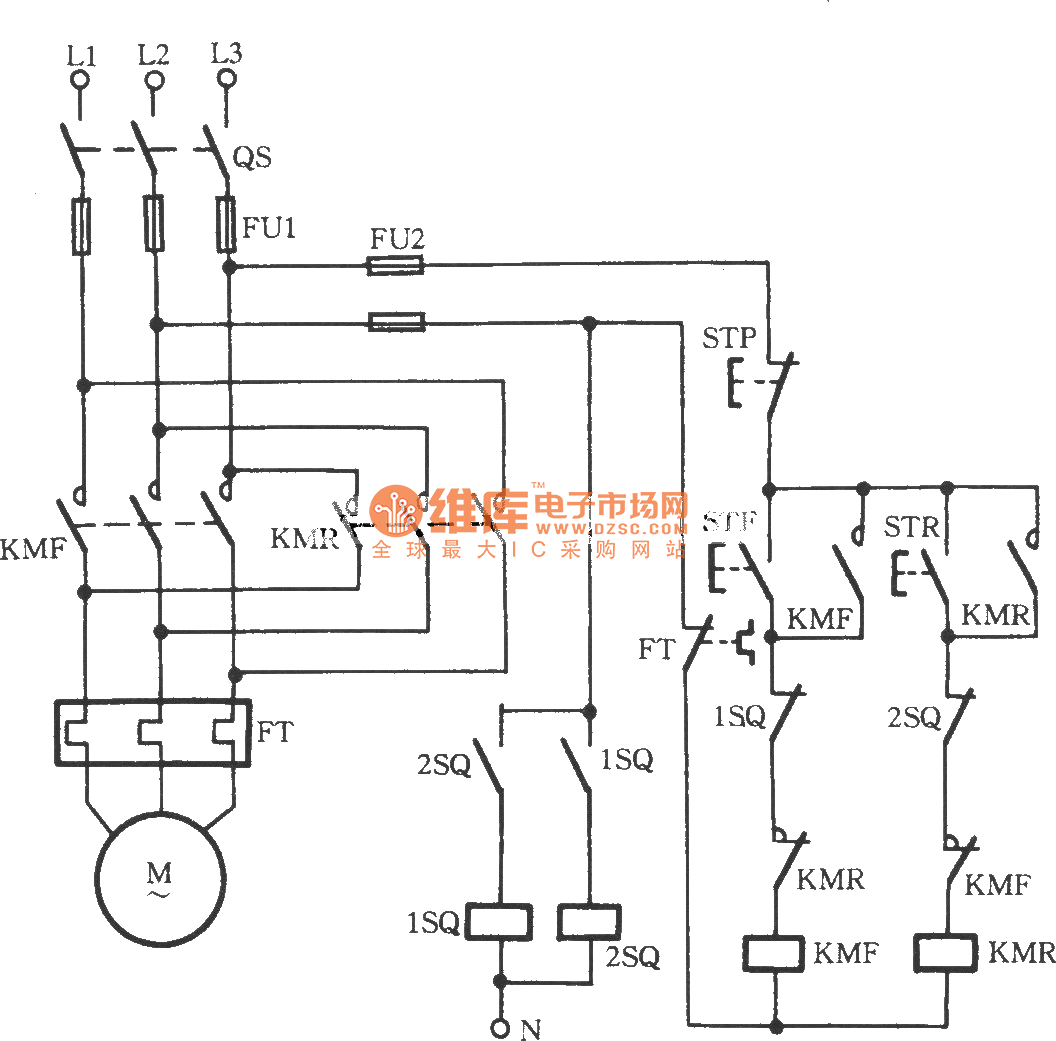 Three-phase motor using proximity switch for automatically