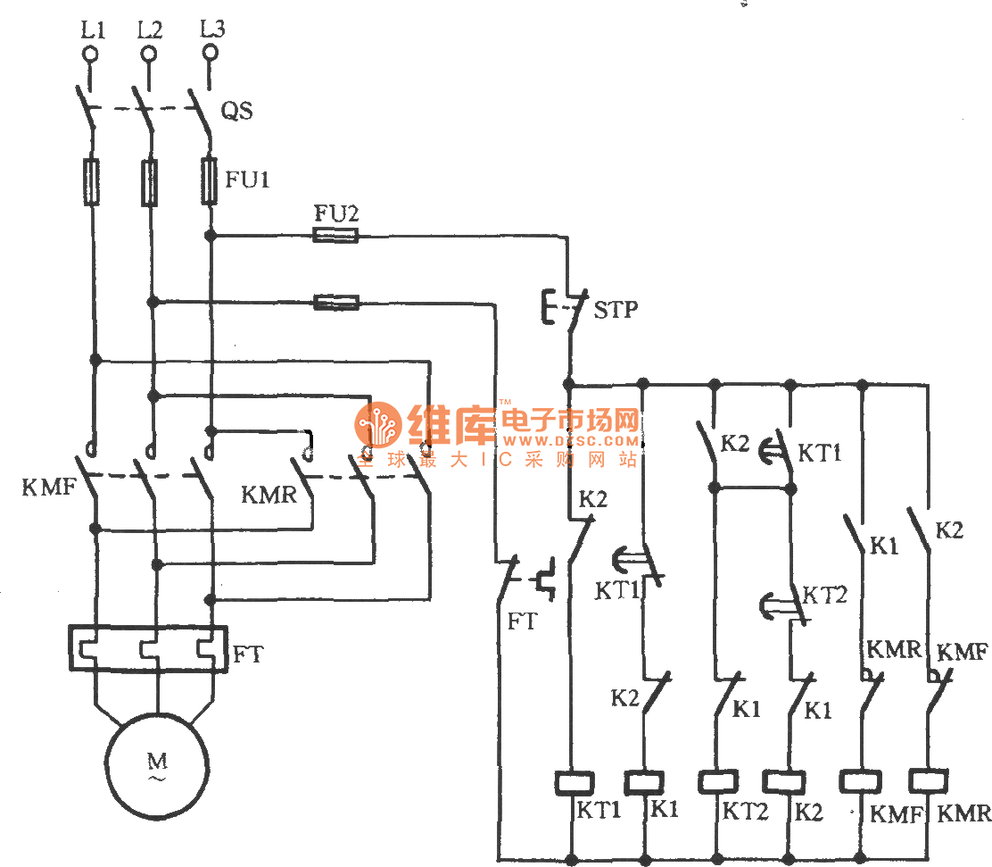 Three-phase motor automatic limiting reversing circuit