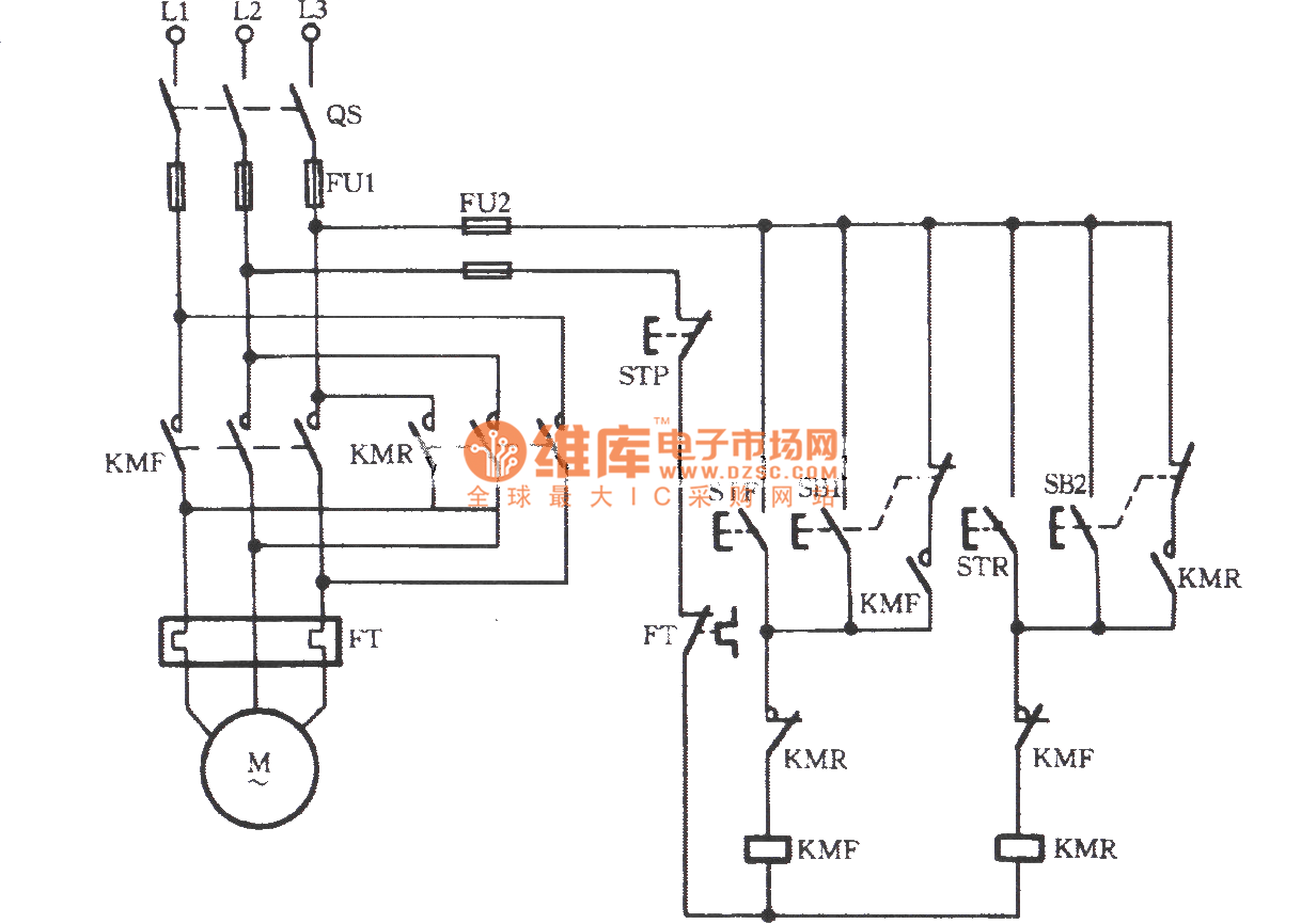 Three-phase motor contactor interlock action for switching