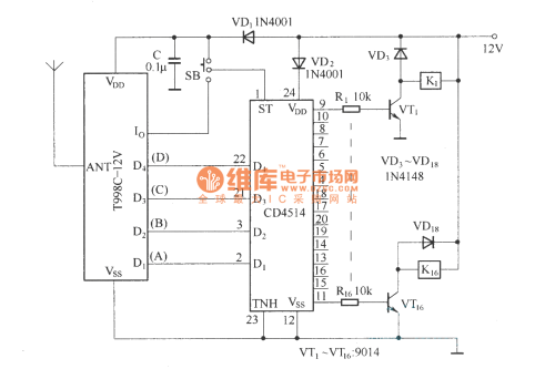 small resolution of 16 channel remote control circuit t998c remote control circuit circuit t998c remotecontrolcircuit circuit diagram seekic